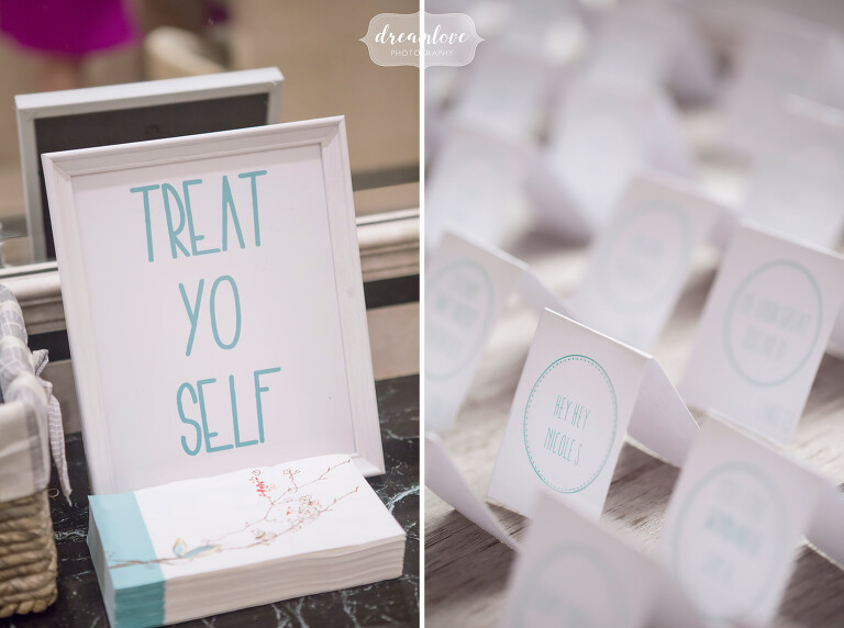 Funny ideas for handmade wedding signs with Treat Yo Self for the guest gift area.