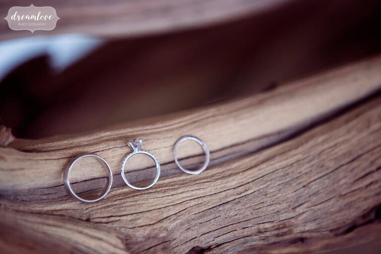 Coastal wedding with rings on driftwood photo.