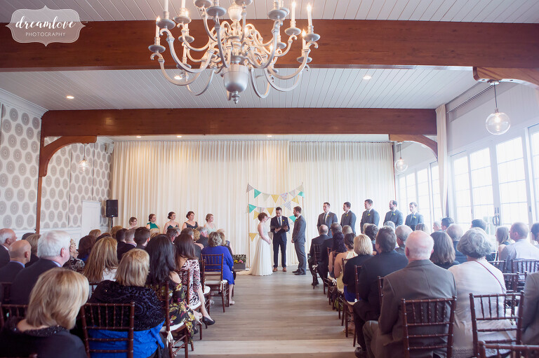 View of the indoor ceremony space at the Wychmere on Cape Cod, MA.