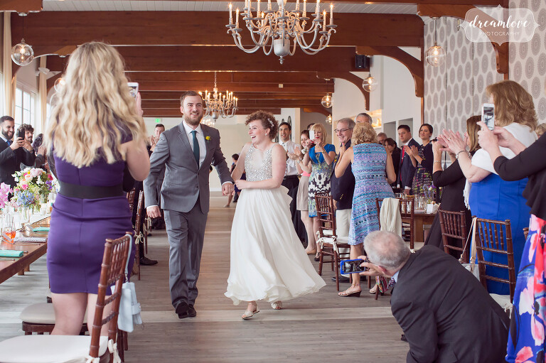 The bride and groom are introduced into the reception at the Wychmere on Cape Cod.