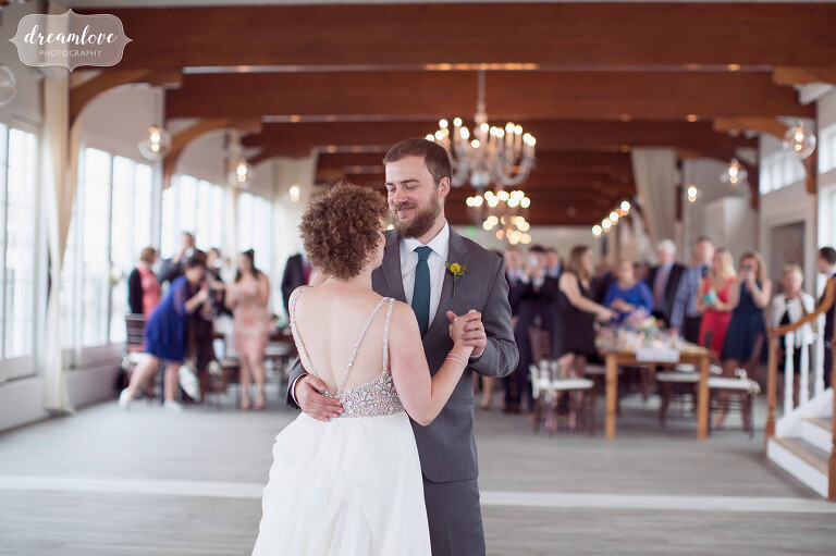 The bride and groom's first dance at this modern venue at the Wychmere on Cape Cod.