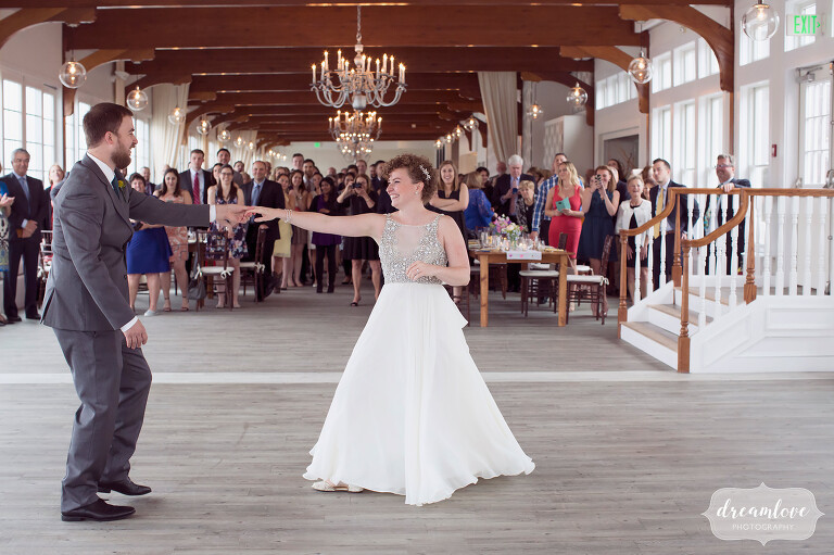 Fun wedding photo of the bride and groom dancing at the Wychmere on Cape Cod.