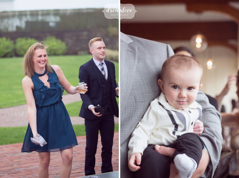 Documentary photos of the guests playing bags and a cute baby at this Cape Cod wedding.