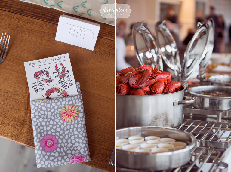 Handmade wedding napkins for this coastal wedding with clambake and lobster.