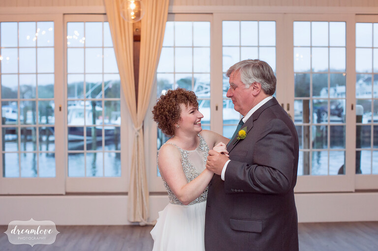 Father and daughter dance at the Wychmere Beach Club wedding.