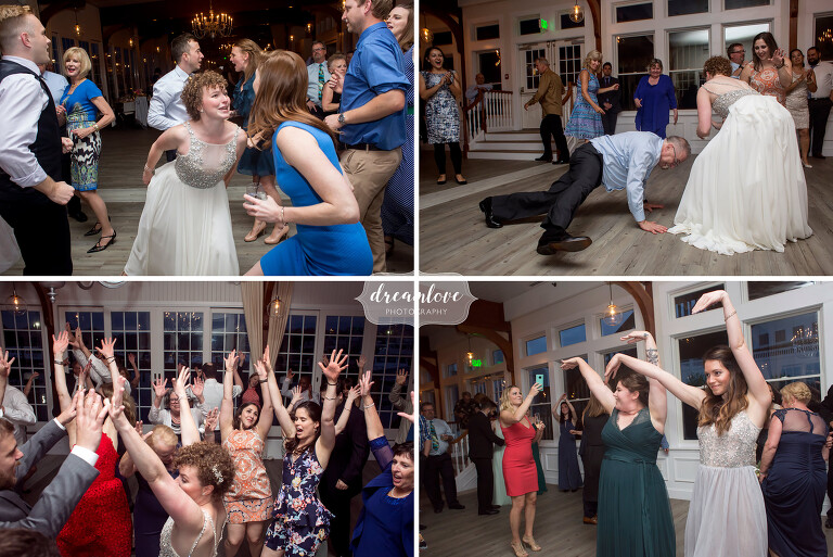 Documentary wedding photography on the dance floor at the Wychmere venue.