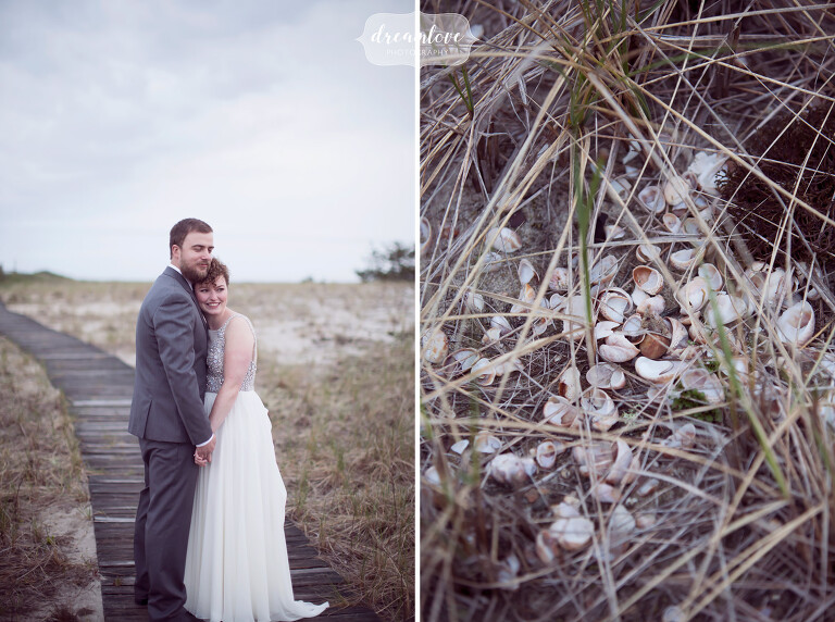 Dreamy photography of the bride and groom on the beach on Cape Cod.
