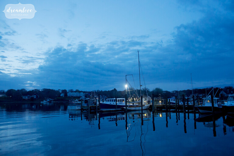 Boat marina view from the Wychmere venue on Cape Cod.