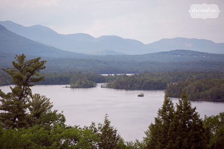 View of Squam Lake from Camp Deerwood before an outdoor camp wedding there this summer.