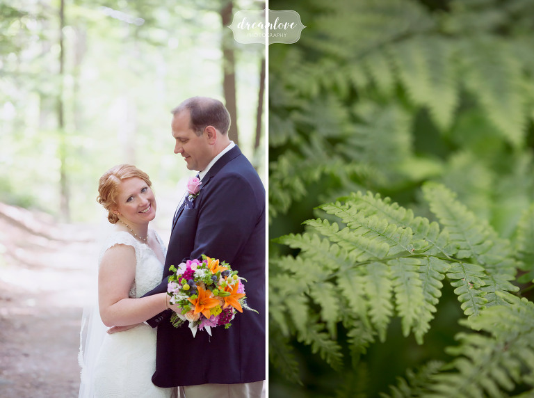 Wedding photo of the bride and groom at their rustic summer camp wedding in the lakes region of NH.