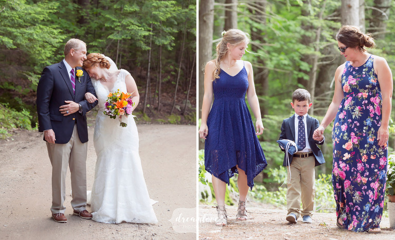 The bride and her father share a moment before walking down the aisle before the outdoor ceremony at this summer camp in NH.