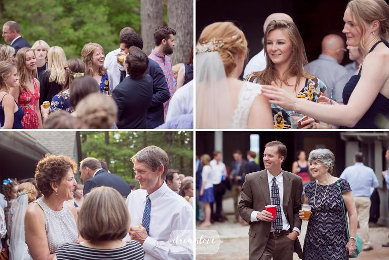 Wedding guests enjoy cocktail hour at Camp Deerwood.