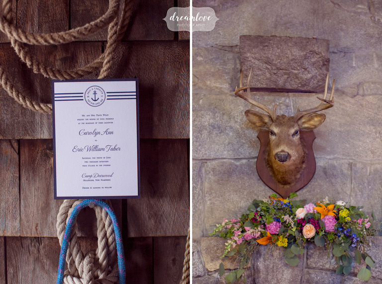 Rustic details at this Squam Lake camp wedding with a deer mount and colorful summer flowers.