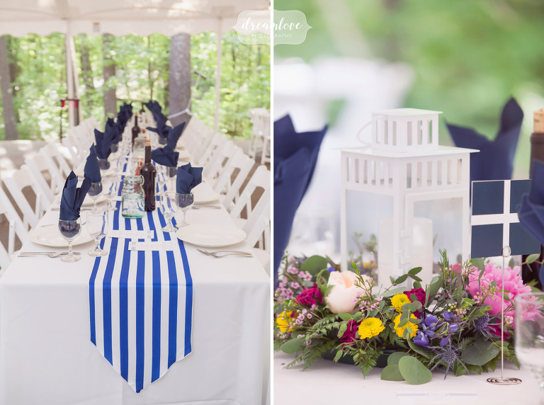 Great ideas for a summer camp wedding with a lake or nautical theme and blue and white stripes.