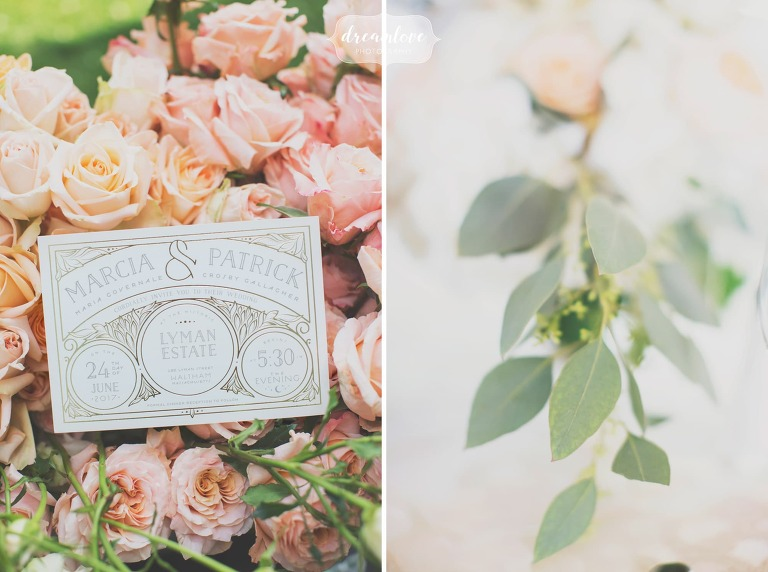 Ethereal wedding photography of the Lyman Estate with the classy invitations on blush pink roses.