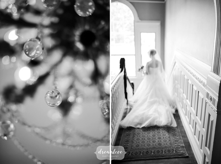 Artsy wedding photography in black and white of the bride at the Lyman Estate venue in MA.