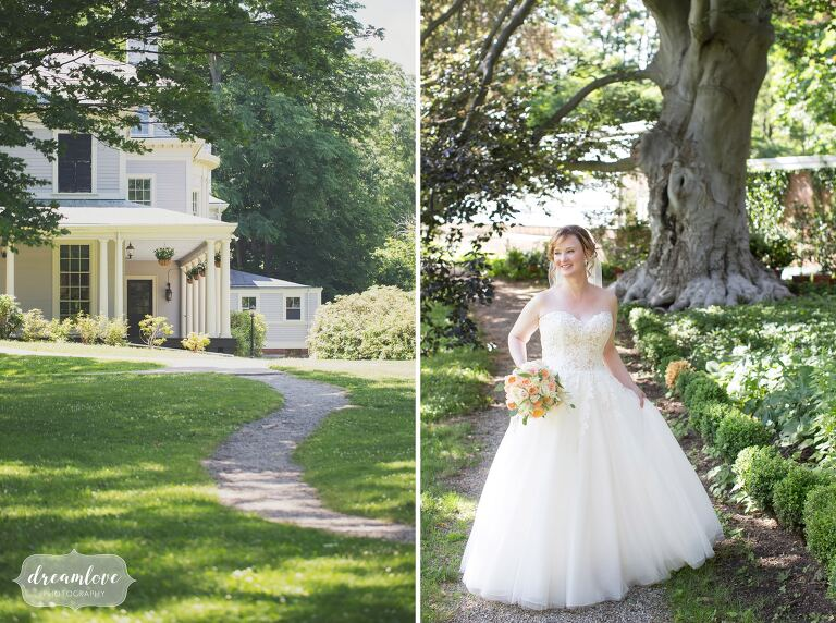 The bride walks along a path at this beautiful outdoor estate wedding just west of Boston.