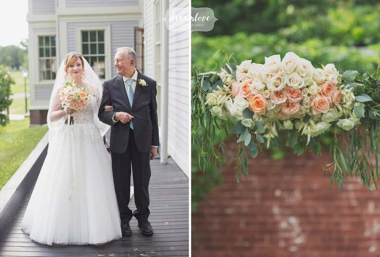 A documentary wedding photo of the bride and her dad having a last look before they walk down the aisle at the Lyman Estate.