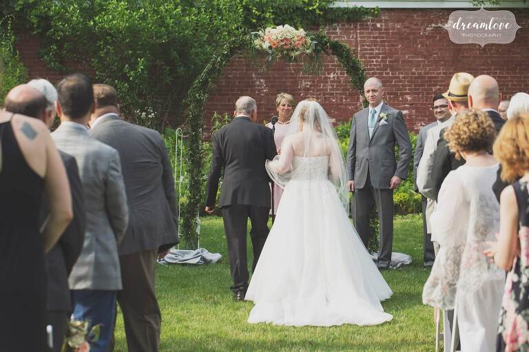 English garden style outdoor wedding at the historic Lyman Estate near Boston.