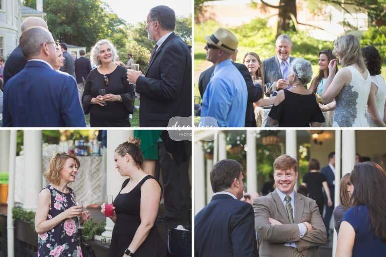 Candid wedding photos of the wedding guests in the english garden style venue at the Lyman Estate.