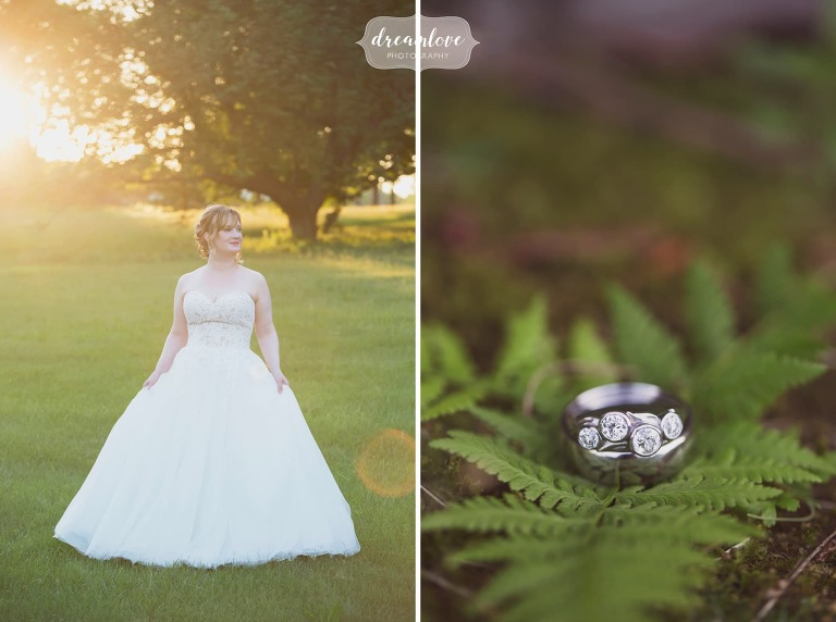 Ethereal photos of the bride at sunset in the field at the Lyman Estate in MA.