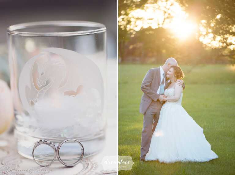 Ethereal sunbursty photos of the bride and groom at the Lyman Estate.