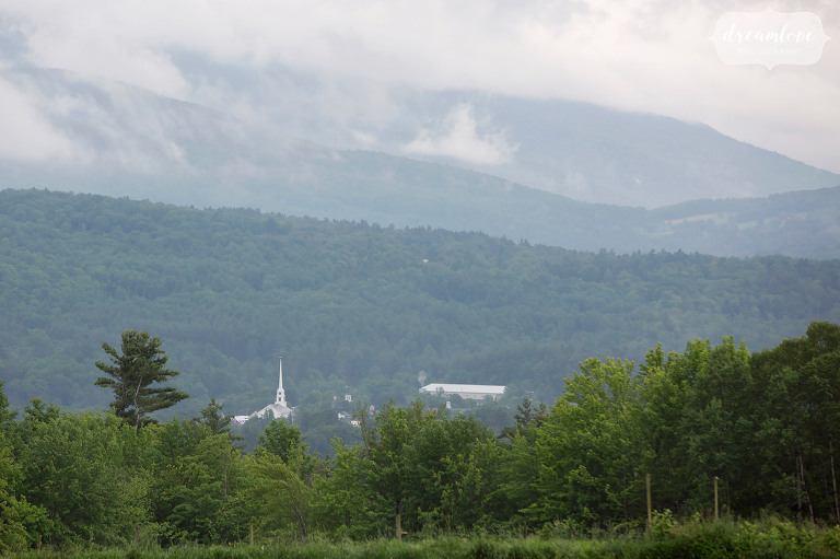 A view of the church and downtown Stowe, VT from the Farm Home of Lisa and Tyson before their barn wedding.