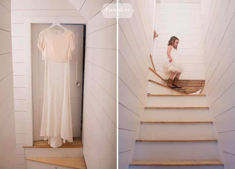 Lisa's two part dress by Sarah Seven hangs in their historic farm home in Stowe before their wedding at the Comfort Farm.