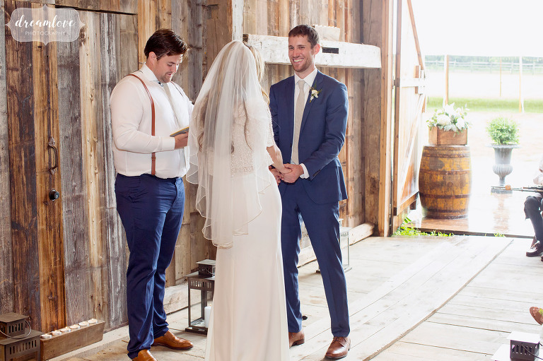 This is one happy groom at his barn wedding ceremony in Stowe, VT.