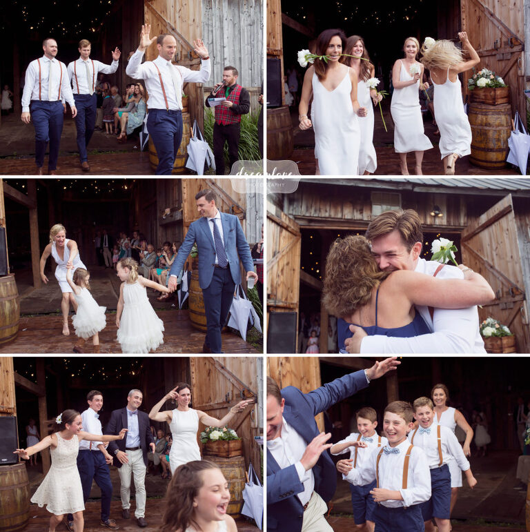 The wedding party is introduced at this barn wedding in Stowe.