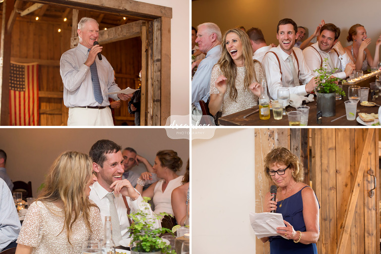 Candid wedding toast photos during the wedding reception at this Stowe barn wedding.