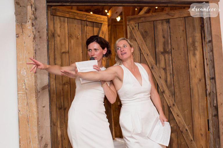 Bridesmaids act out a hilarious toast at this Stowe, VT barn wedding.