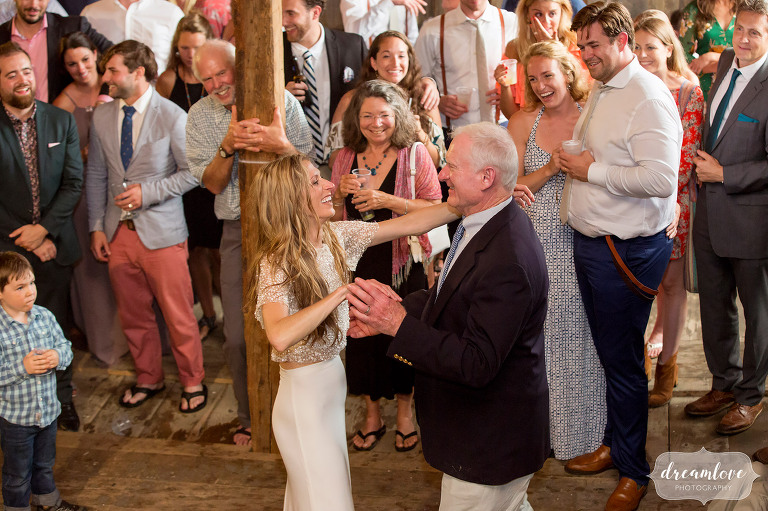 The father daughter dance during this Stowe barn wedding at the Comfort Farm.