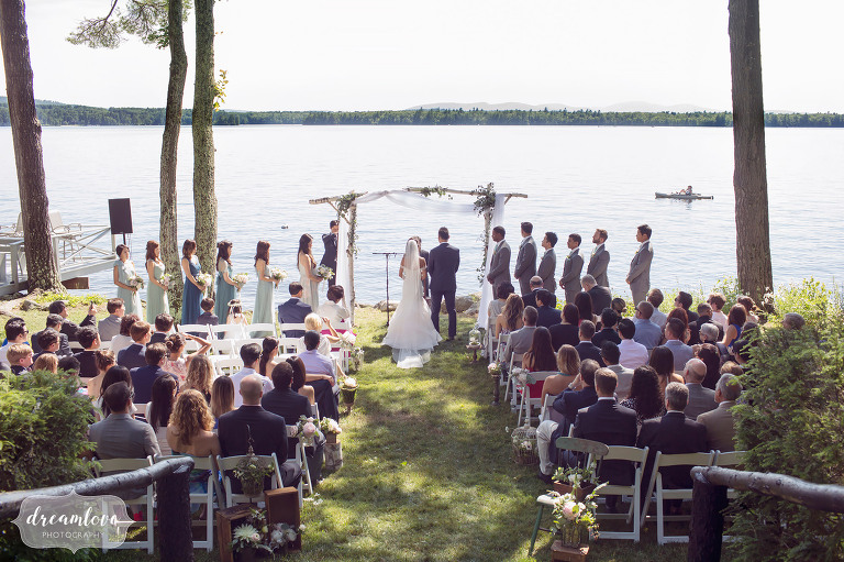 This Wolfeboro NH wedding in the groom's backyard overlooked Lake Wentworth.