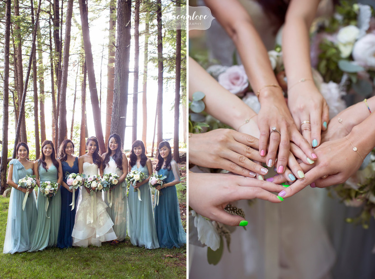 Korean wedding photography with water colors of bridesmaids dresses and painted nails in Wolfeboro, NH.
