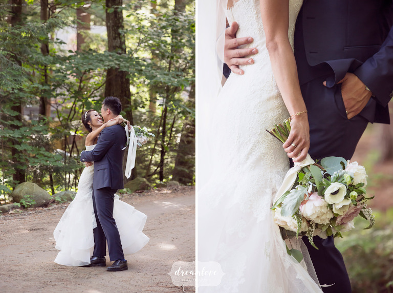 Outdoor wedding photography of the bride and groom in the woods in Wolfeboro, NH.