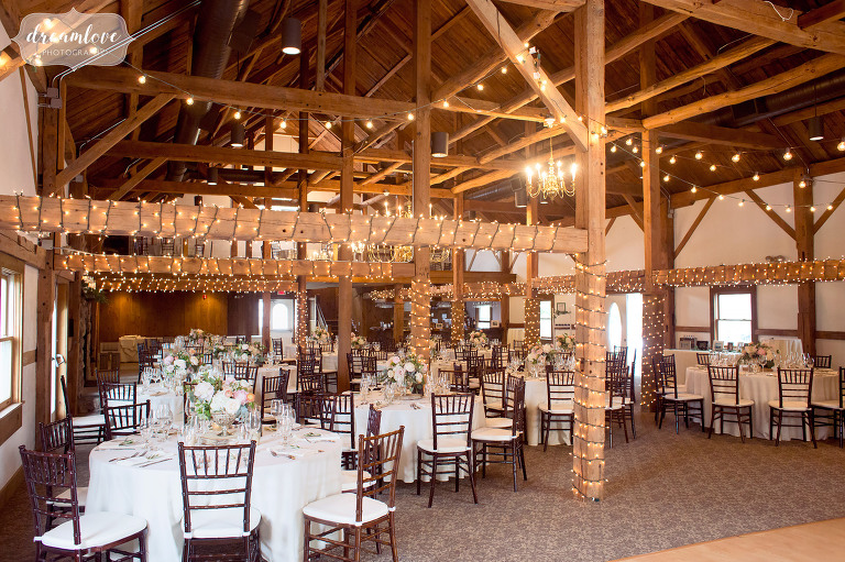The Inn on Main is a classy yet rustic wedding reception space that resembles the inside of a timber frame barn.