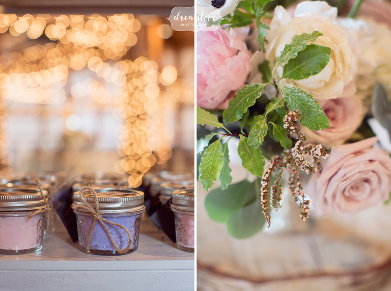 These natural candles were a great consumable wedding guest favor at this rustic Wolfeboro, NH wedding.