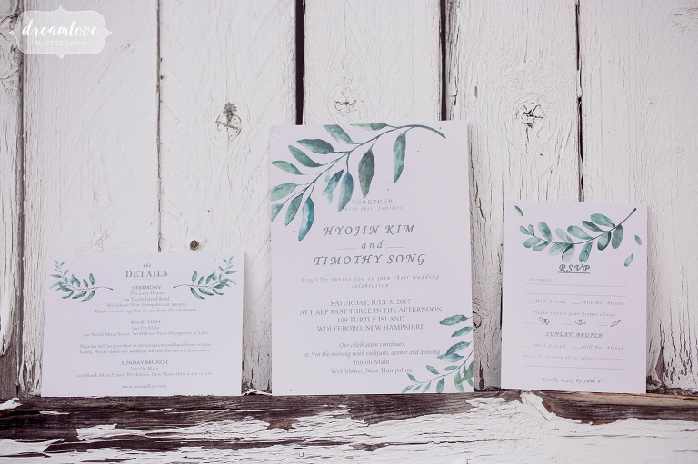 This botanical wedding invitation was perfect for a rustic lakeside wedding in Wolfeboro.