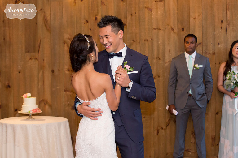 The bride and groom have their first dance at the Inn on Main in Wolfeboro.