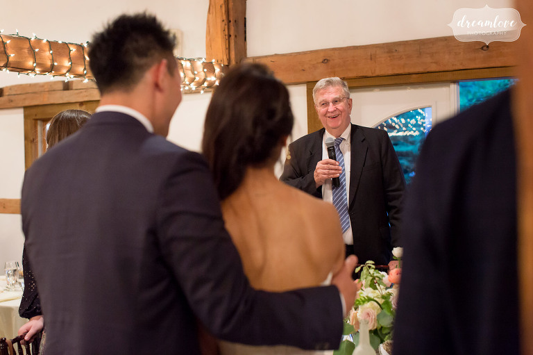 The grandpa gives an emotional wedding toast at the Inn on Main.