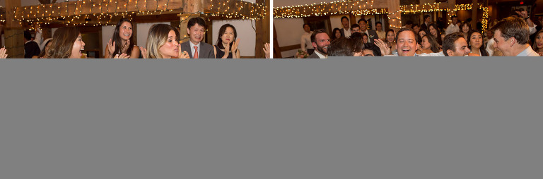 Funny photos of the girl catching the bouquet at wedding reception in Wolfeboro.