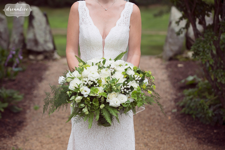 This white and green cascading bridal bouquet was huge and heavy, but beautiful at the Moraine Farm.
