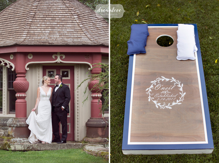 Bride and groom stand in front of the antique tea house at the Moraine Farm venue in MA.