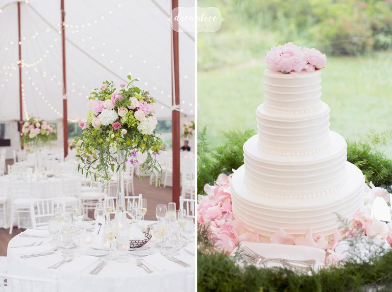 Simple garden wedding decor at this Moraine Farm estate wedding.