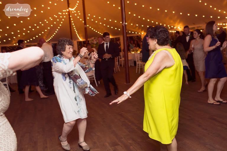 Funny photo of grandma dancing at the Moraine Farm.