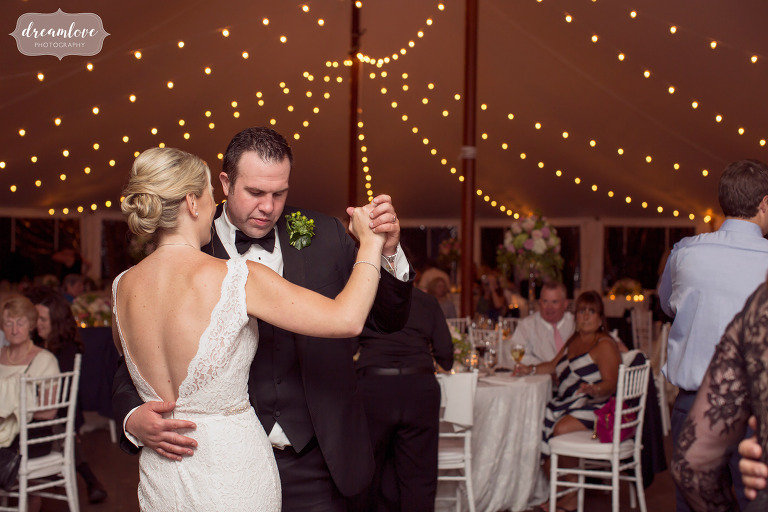End of the night photo as the bride and groom slow dance at the Moraine Farm Estate in MA.