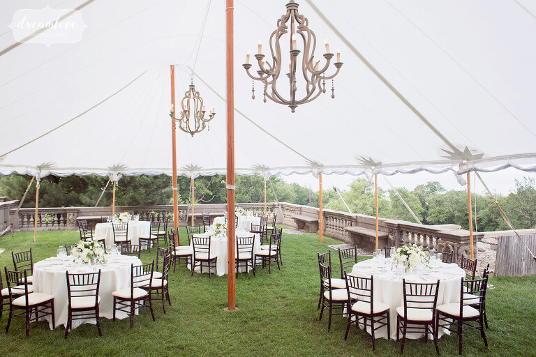 Tented wedding reception dinner set up at the Crane Estate in MA.