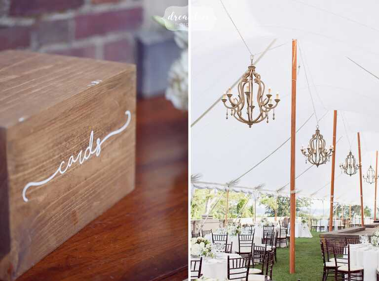 Rustic and antique wooden decor ideas for this Crane Estate tented reception.