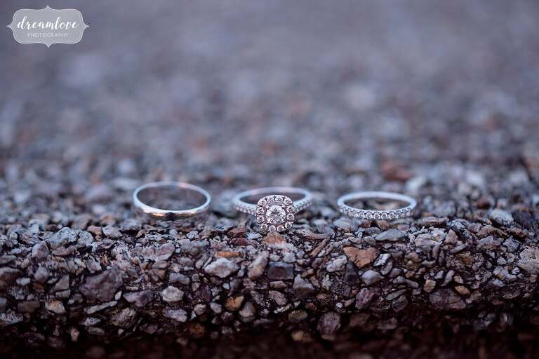 The wedding rings at twilight at the Crane Estate.